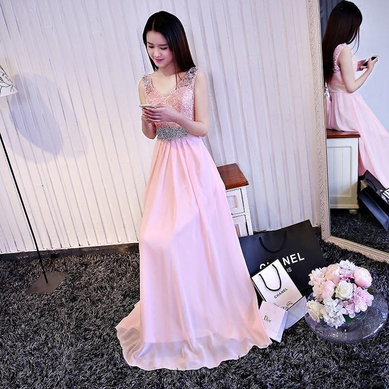 Elegante cuello en V con cuentas de cordones de goma vestido de honor 2016 longitud de piso vestido de fiesta de boda envío rápido