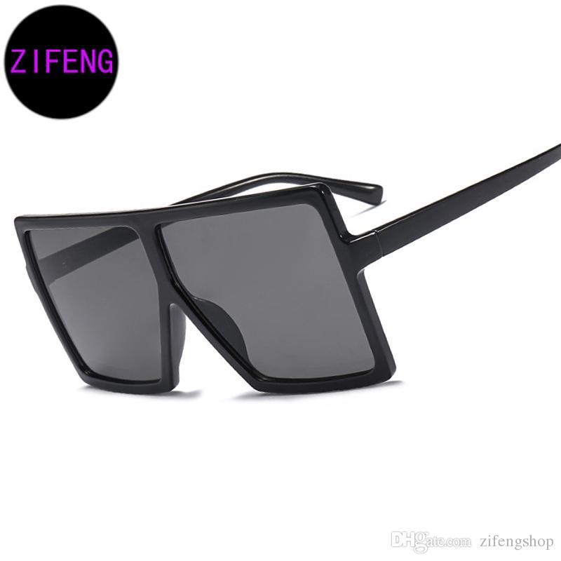 Z F Fashion Oversized Square Frame Shield Style Sunglasses Women ...