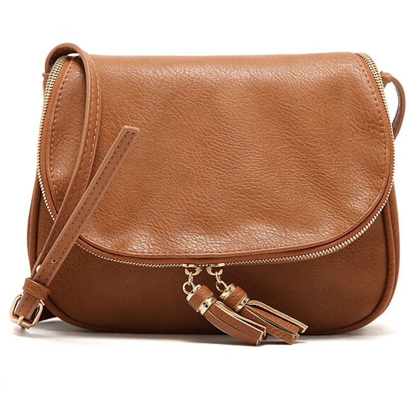 Women Tassel zipper Bag Pu Leather Crossbody Saddle Bag Shoulder handbags Messenger Bag for women
