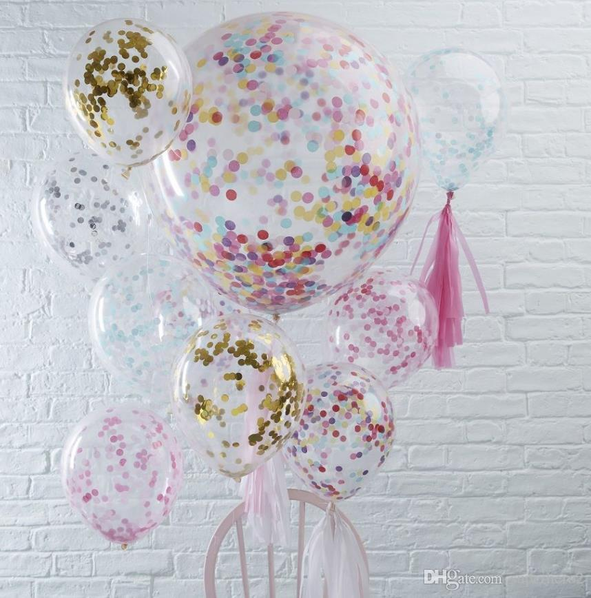 Confetti Filled Balloons Helium Quality Party Wedding Valentines Birthday Decoration round clear ballon Hen Decor 36''/18''/12'' child toy