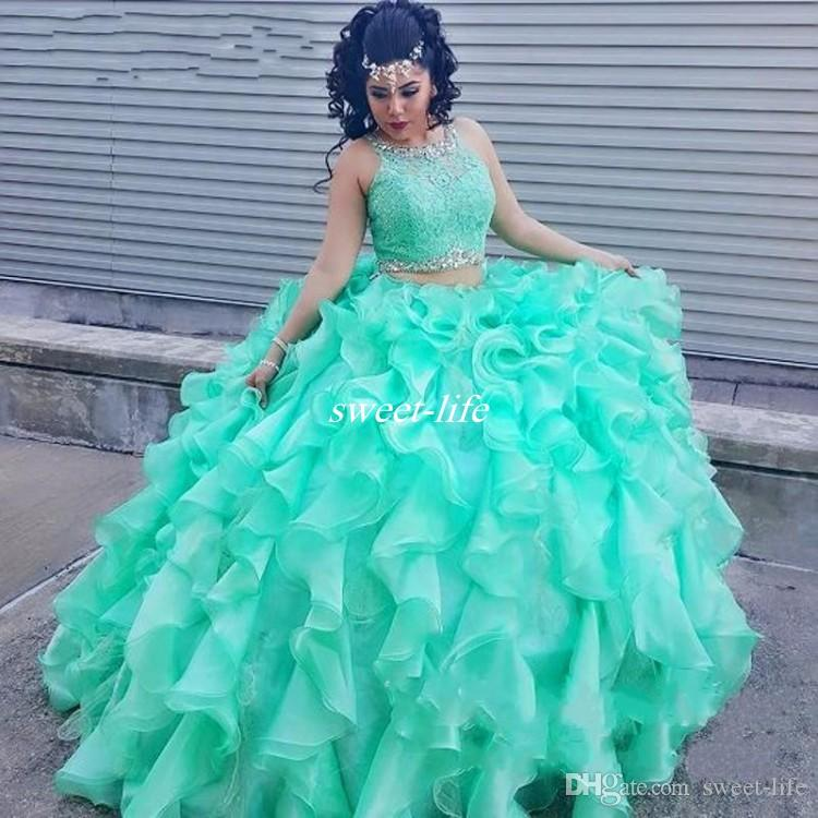 Two Piece Lace Quinceanera Dresses with Beaded Crystal Organza Ball Gowns Sweet 16 Gowns Corset Formal Dress for 15 Year Prom Dress 2019