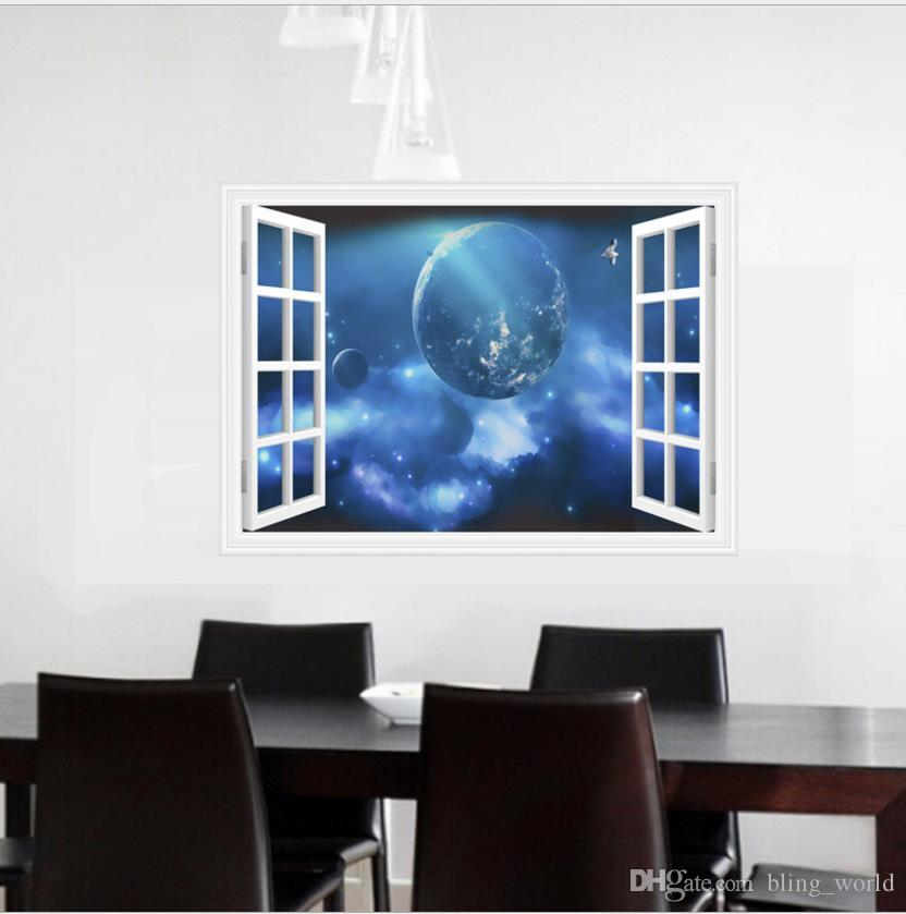 3D Stereo Galaxy Wall Stickers Living Room Bedroom TV Background PVC Material Wall Decals Modern DIY Home Decor For Kids Rooms LDH56
