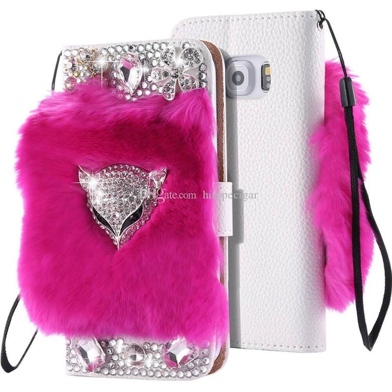 Bling Fur Flip PU Leather Wallet Stand Cover with Fox Head for Iphone 6s 6plus 7 8plus x XR Xs Max 11 Pro Max