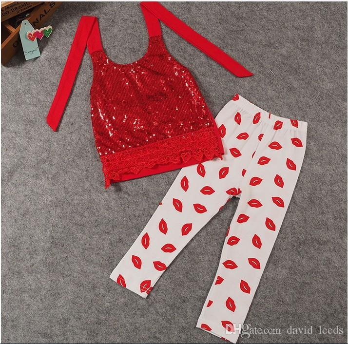 2016 neue Ankunft Baby Mädchen Roten Pailletten Stickerei Bluse Tops + 100% Baumwolle Lippenstift Gedruckt Hosen 2 stücke Sets Kinder Anzüge Kinder Outfits