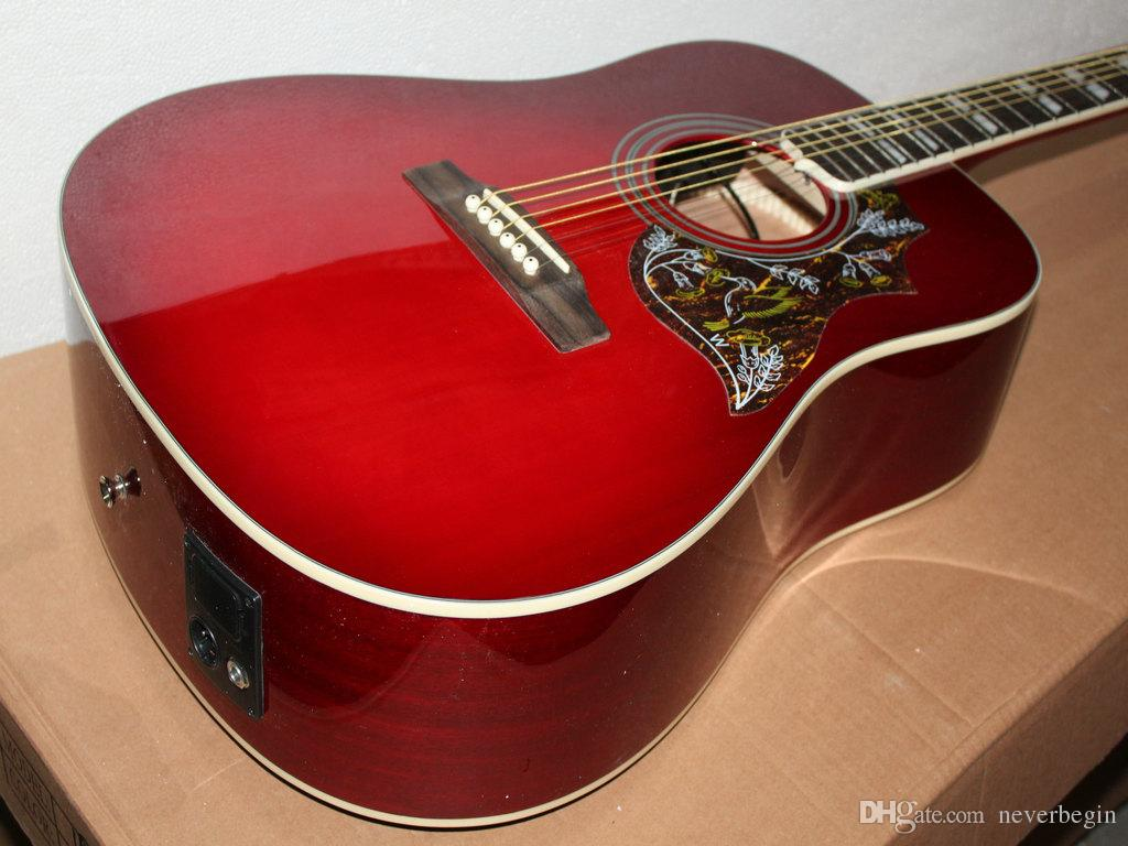 Very Beautiful New Red Wine Electric Guitar Acoustic Guitar With
