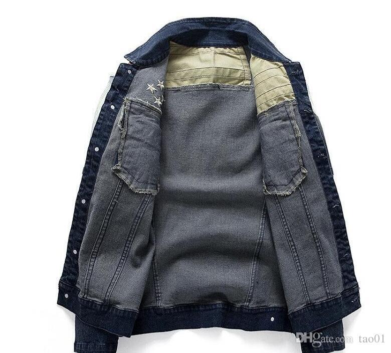 Hochwertiges Material USA Design Herren Jeans Jacken Amerikanische Armee Stil Männer Jeans Kleidung Jeansjacke für Männer