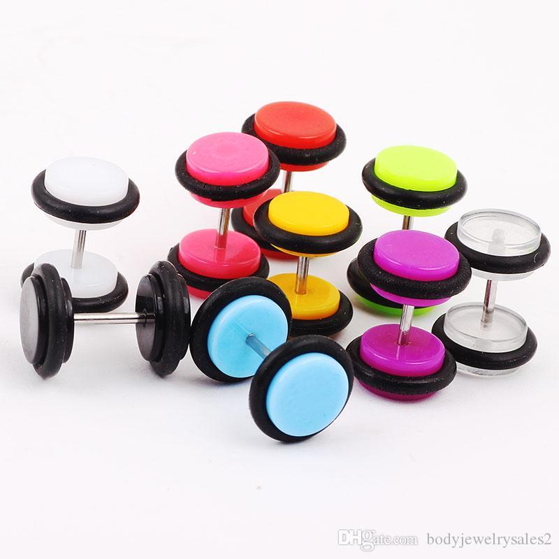 الشحن مجانا / بالجملة مزيج 10 الألوان 8MM الجسم القرط خارقة المكونات المجوهرات وهمية الأذن المتوسع الأذن تفتق الغشاش خارقة