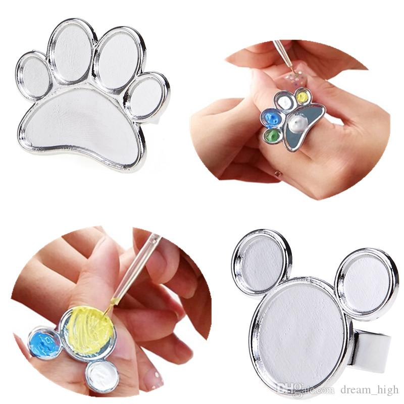 Mini Nail Art Metal Finger Ring Palette Mixing Acrylic Gel Polish Painting Drawing Color Paint Dish Glue Palettes Tools 3d Supplies Designs Of
