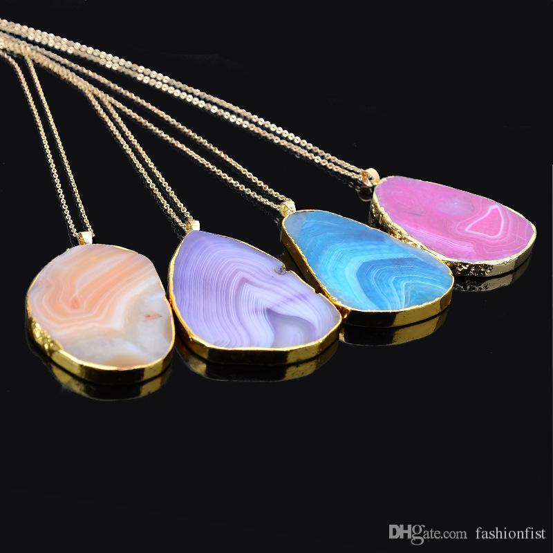 2016 Vente Chaude quartz quartz Pendentif Colliers Jewlery Femmes Naturel Gemstone Collier Fit Chaînes Plaqué Or Collier Bijoux