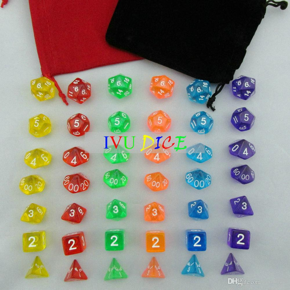 42pcs DND Table BOARD GAME Dungeons&Dragons Transparent Green Blue Yellow Red Orange Purple Party Children dices IVU