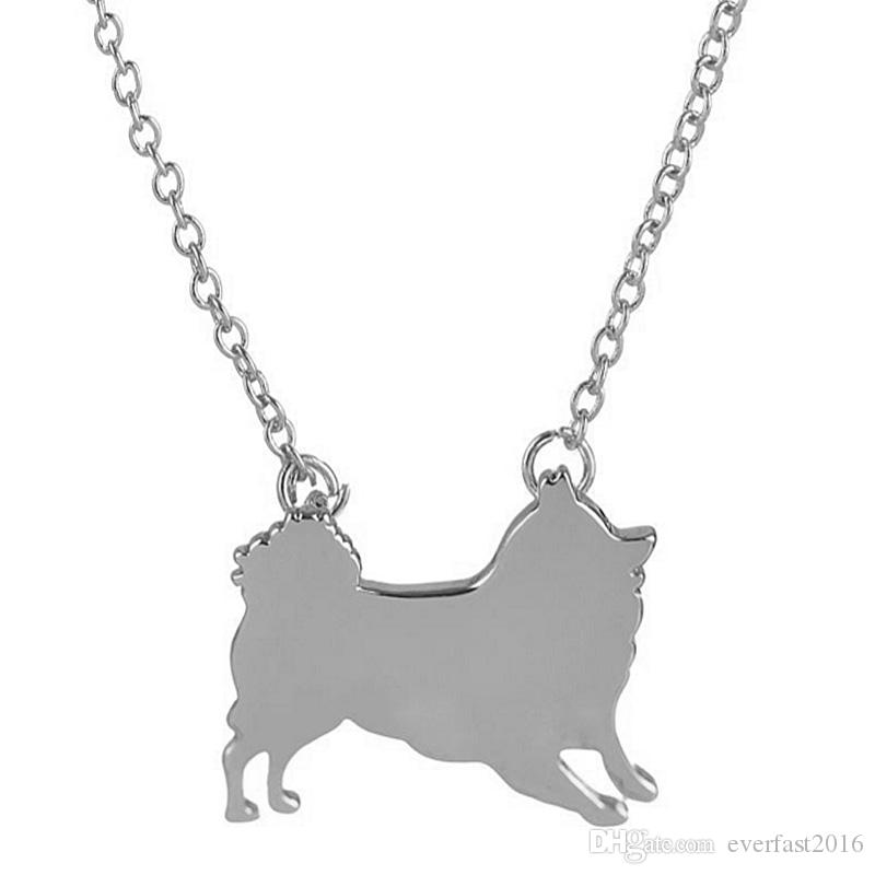 2016 New Fashion Jewelry Cute Pomeranian Dog Animal Necklace Pendant Silver Gold Plated Link Chain for Women Party Christmas Gifts