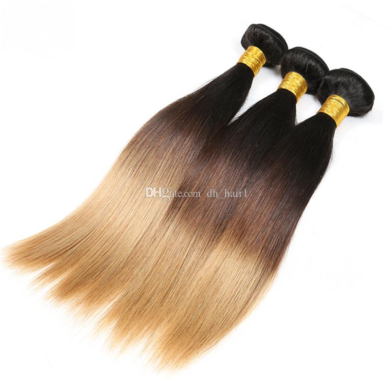#1B/4/27 Ombre Brazilian Hair With Closure 3 Bundles With Closure Brazilian Straight Human Hair With Closure Three Tone Color