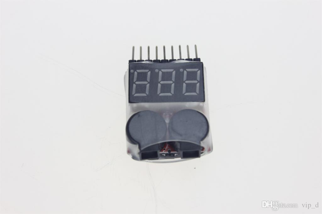 Hot selling Lipo Battery Voltage Tester Volt Meter Indicator Checker Dual Speaker 1S-8S Low Voltage Buzzer Alarm 2in1 2S 3S 4S 8S