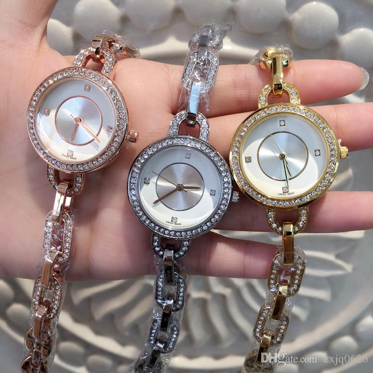 Éléments chauds sexy femmes montre-bracelet avec diamant en acier bracelet chaîne dame montre bracelet marque quartz bijoux boucle