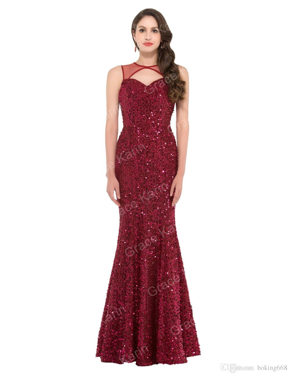 Luxury Evening Gowns Crystal Beaded Sequins Rhinestones Sexy Mermaid Evening Dresses Abendkleider 2019 Red Backless Prom Dress Cheap