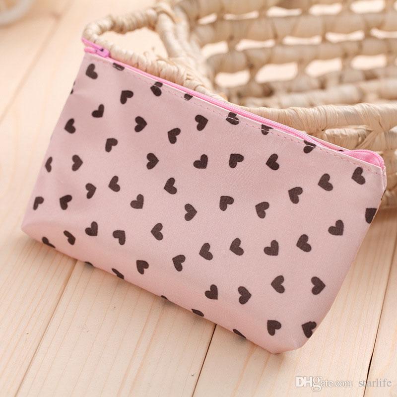 Satin waterproof Love Small Makeup Bag Beautician Travel Cosmetic Bag Women Storage Package Case Bag Organizer