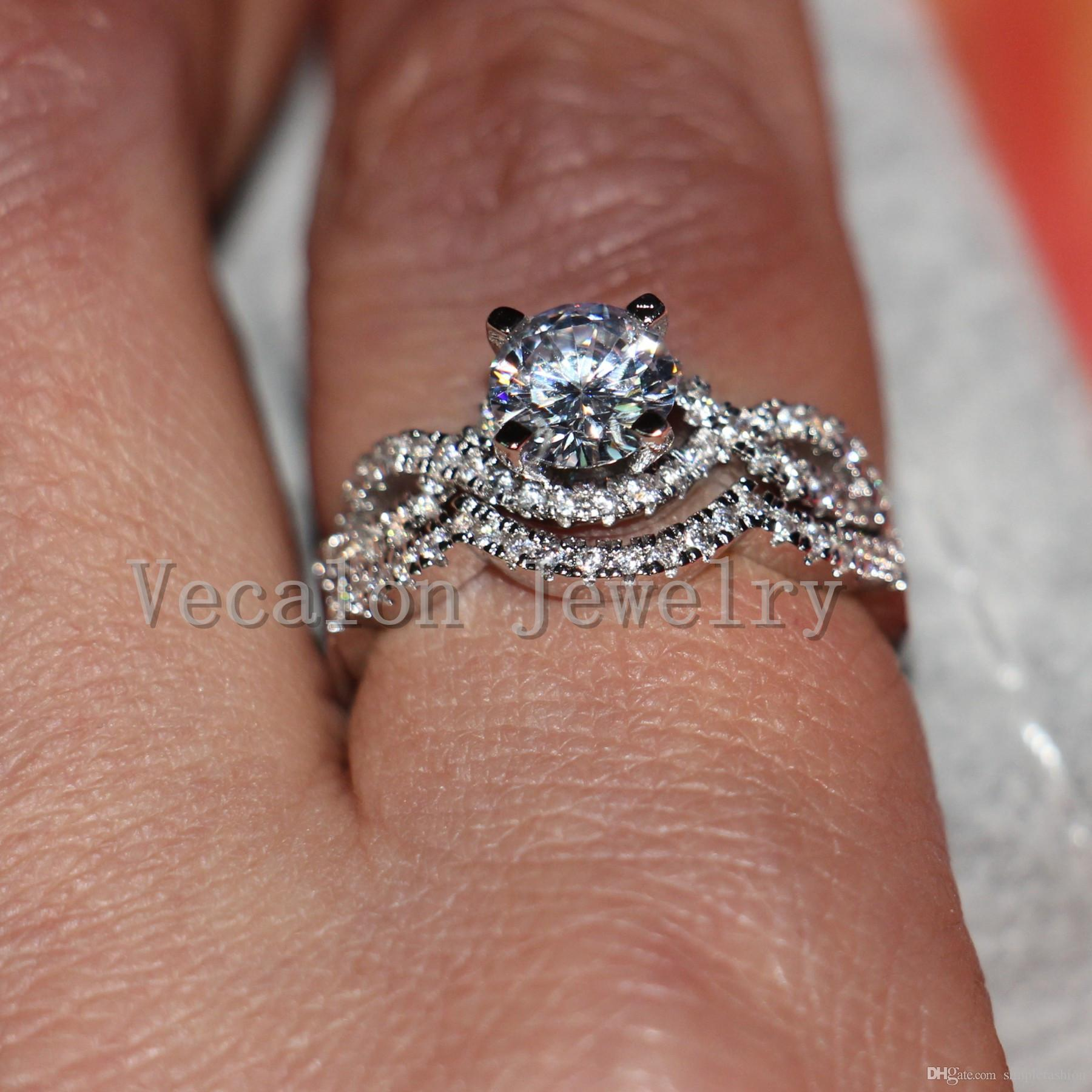 Vecalon Classic Corss Band Wedding Band Set para mujeres Diamante simulado Cz 10KT White Gold Filled Women Party ring