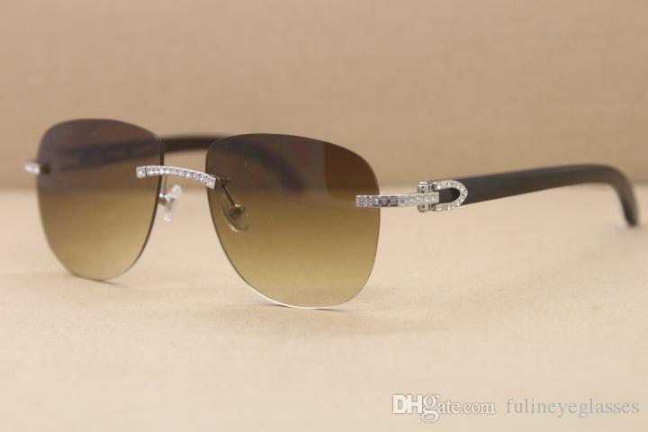 Kostenloser Versand Hot Randlos Sonnenbrille T8300680 Brille Schwarz Buffalo Horn Sonnenbrille Samll Diamant-Glas-C Dekoration Gold Größe: 53-18-140mm