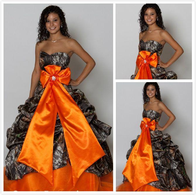 Vintage Orange Princess Ball Gown Camo Plus Size Wedding Dresses ...