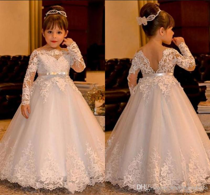 White Wedding Dress Under 500: Cute White Lace Baby Wedding Dresses 2017 Long Sleeve V