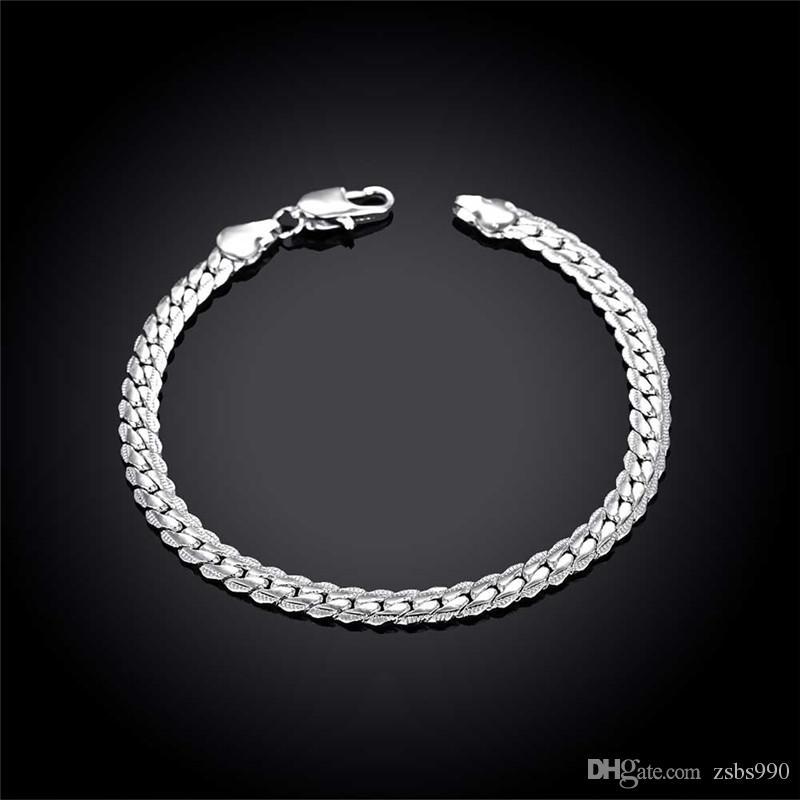 925 Gümüş Charm Zincir Bilezik erkekler için 5mm * 8 inç Serin doğum günü hediyesi Moda Takı ücretsiz kargo 10 adet