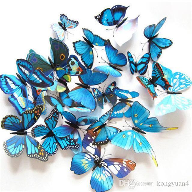 12 unids / lote 3D arte mariposa etiqueta de la pared decoración del hogar decoración de la habitación