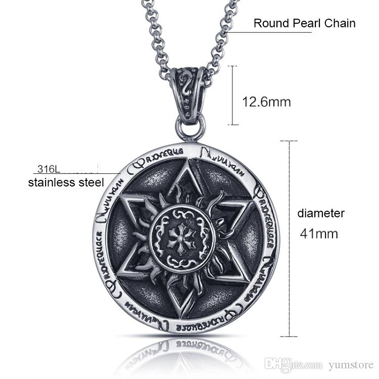 Hot Six Stars Pendants Necklace Stainless Steel Men Pendants Retro Style Gold Plated Round Pendant Necklace For Men
