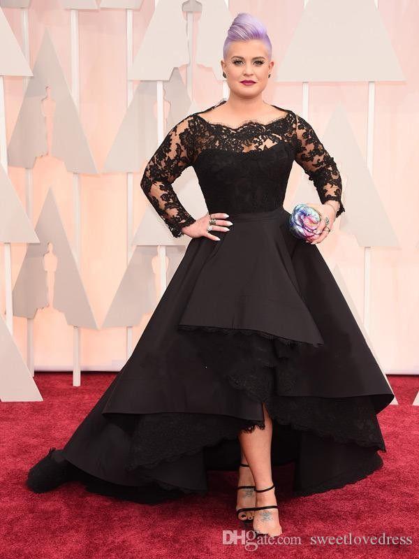 2019 Yüksek Düşük Artı Boyutu Resmi Elbiseler Sheer Dantel Bateau Uzun Kollu Oscar Kelly Osbourne Abiye giyim Siyah Balo Anne Gelin