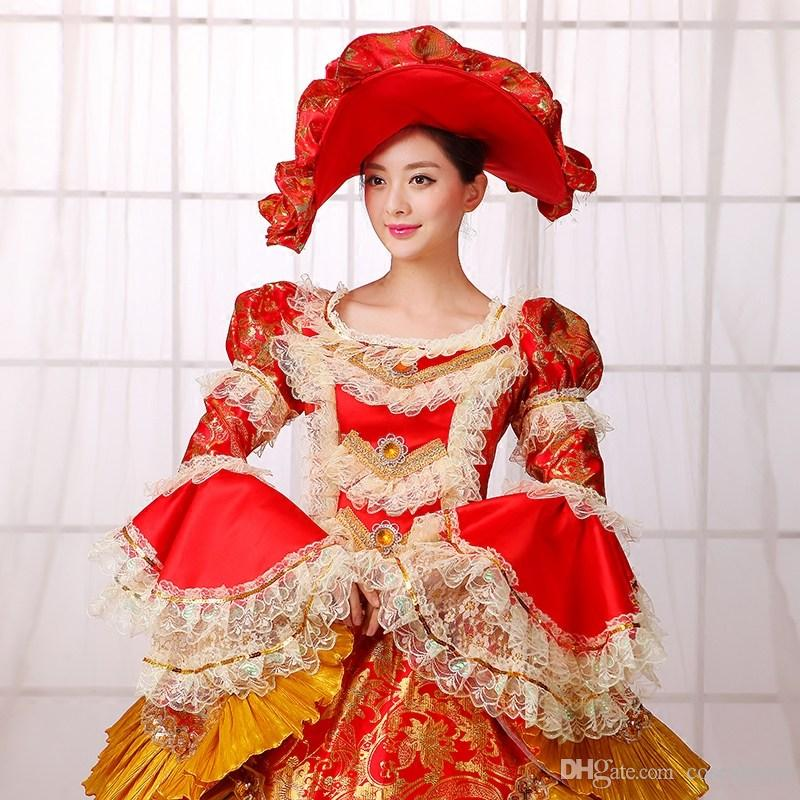 Hot Sale 2016 Wine Long Sleeve Printed Medieval Renaissance costume 18th century Rococo Marie Antoinette Ball Gowns For Ladies
