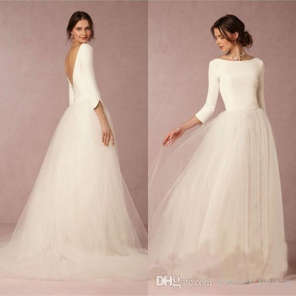 Discount cheap stunning winter wedding dresses a line satin top discount cheap stunning winter wedding dresses a line satin top backless 2016 bridal gowns with sleeves simple design soft tulle skirt sweep train bridal junglespirit Gallery