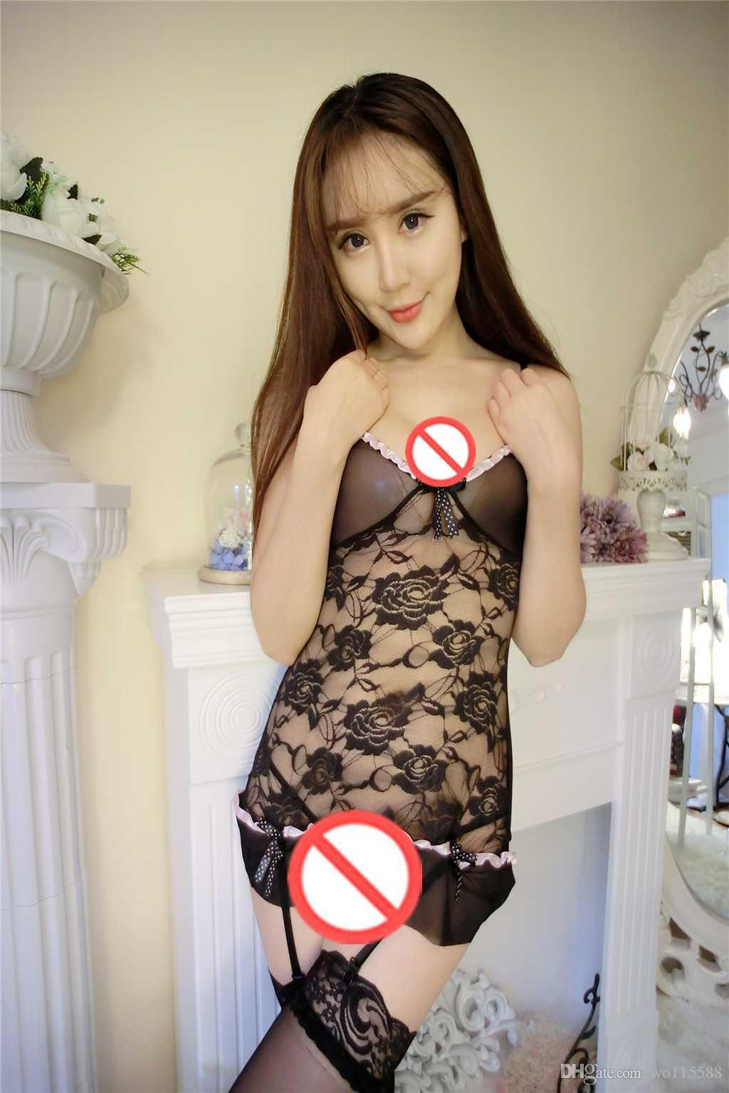New sexy lingerie cosplay sexy underwear anchor black sexy lace transparent one piece sling short skirt pajamas + pants suit