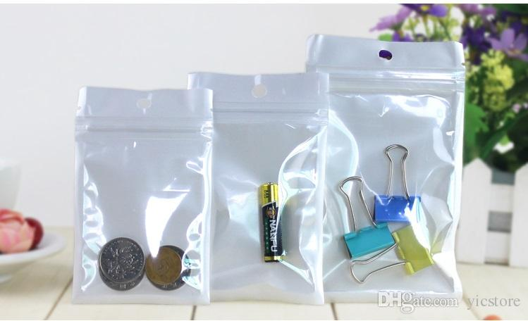 High Quality Clear + white pearl Plastic Poly OPP packing zipper Zip lock Retail Packages Jewelry food PVC plastic bag many size available