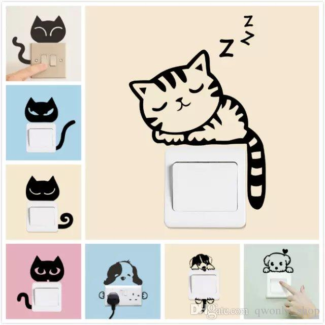 Sweet Sleeping Cat Wall Stickers Switch Sticker Living Room Bedroom Wall  Decals Home Decoration Poster Animal Cat Mouse Switch Decals Custom Wall  Sticker ...