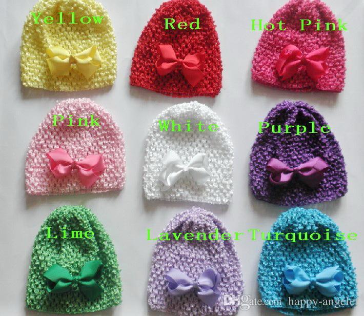 5 sztuk Baby Waffle Crochet Hats Hair Bows Clips Sunny Soft Toddler Beanie z 3