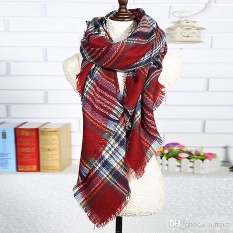 2016 горячие женщины мода плед шарф теплая мягкая зима одеяло шарф негабаритных тартан шарф женщины шаль шарф шарфы обертывания DHL 10 шт. бесплатно