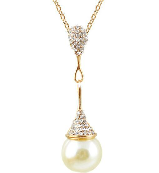 JS N293 New Arrival Long Pearl Necklace Gold And Silver Plated ... 90fb0d8ca70c