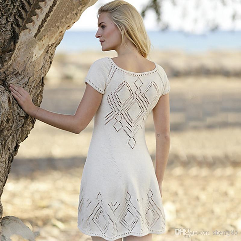 Womens Summer Dresses 2016 Summer New Style White Crochet Dress Women Beach Dress Vintage Bohemian Cover ups 9353B