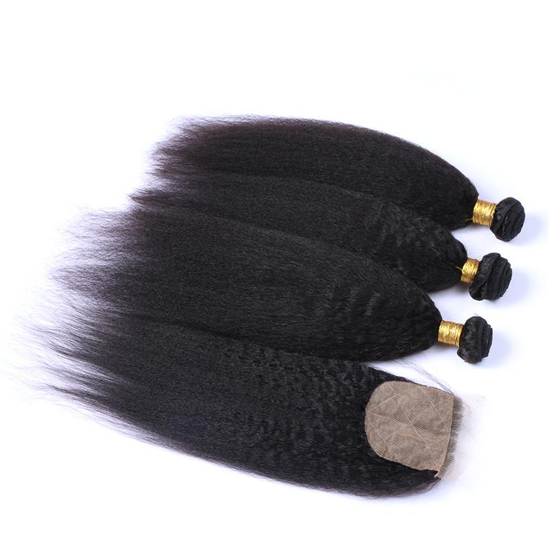 Brezilyalı Sapıkça Düz 4 * 4 Ipek Tabanı Kapatma Ile Saç Demetleri 3 adet Kaba İtalyan Yaki Bakire Saç Ipek Üst Dantel Kapatma Ile 4 Adet / grup