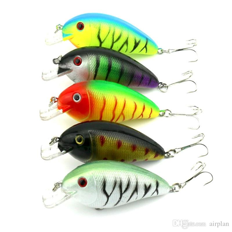 5 pz di Floating Hard Fishing Lure Esche artificiali Wobbler Esche artificiali Crankbait Big Fish Pesca Accessori Da Pesca Ganci