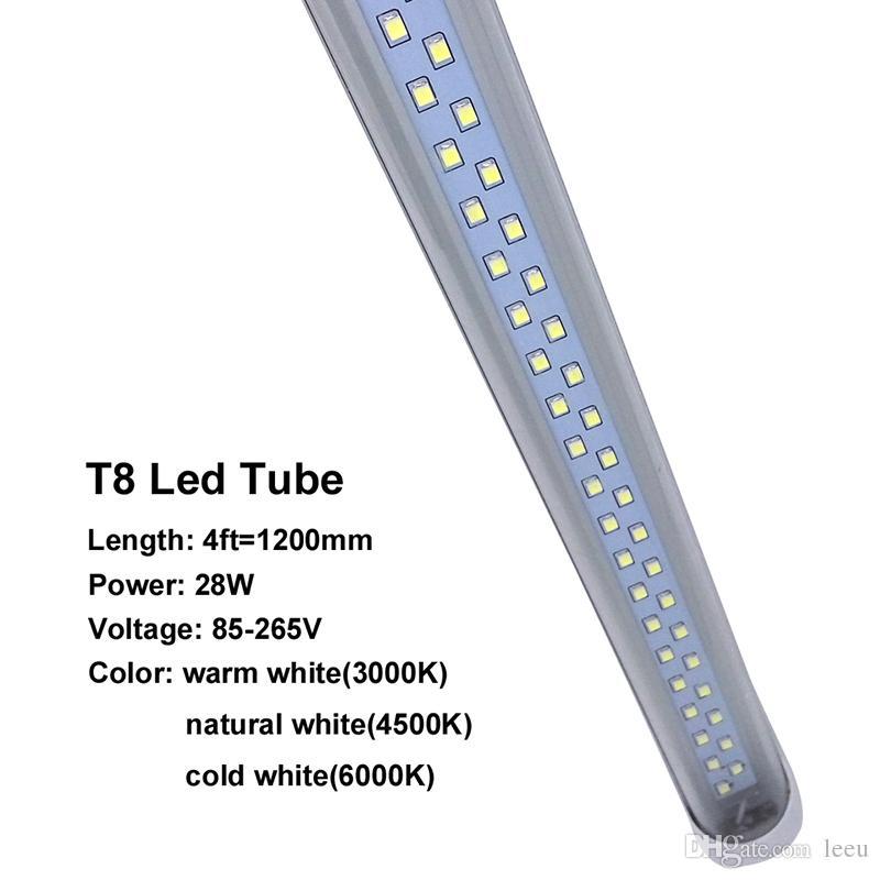 28W 4ft T8 G13 Led Tubes Lights Double Rows Led Fluorescent Tubes Light SMD 2835 AC 85-265V