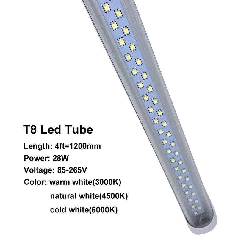 미국 주식 T8 LED 튜브 라이트 28W LED 형광 전구 192 개 LED는 2835 4피트 1,200mm AC85-265V UL CE FCC ETL SAA를 SMD