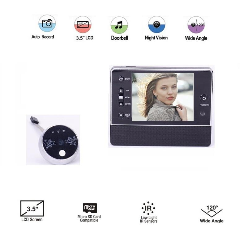 Hot-selling mirillas puerta digital 3.5inch LCD 3X Zoom IR night vision 32 Rings support Video+Photos Spanish Menu mirilla