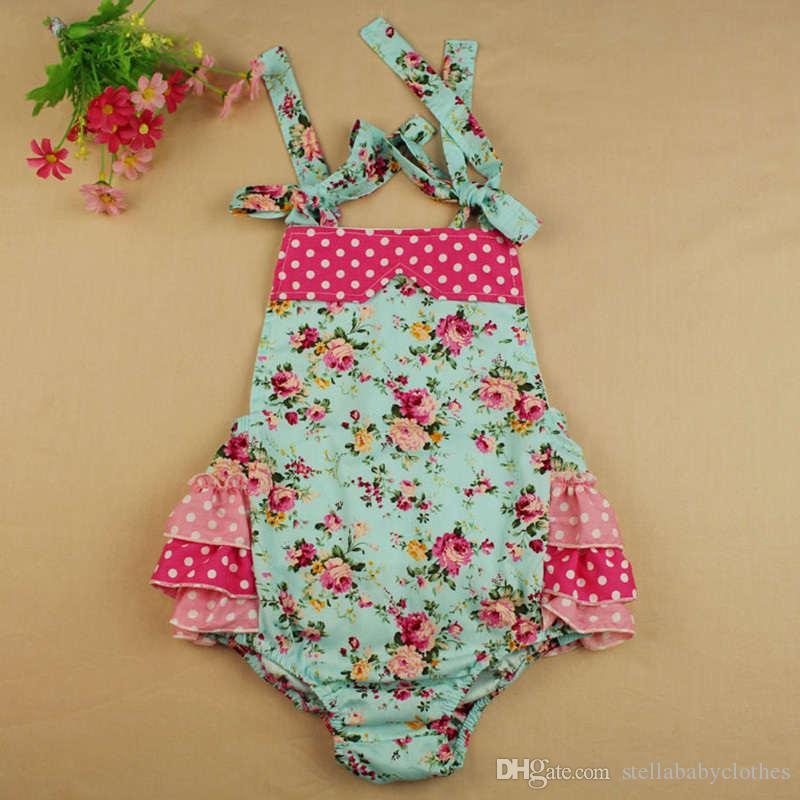 303ce8d2ff38 2019 Summer Floral Ruffle Girls Rompers Cotton Girls Romper With Knot  Headband Shabby Flower Baby Girl Bubble Clothing Bodysuit From  Stellababyclothes