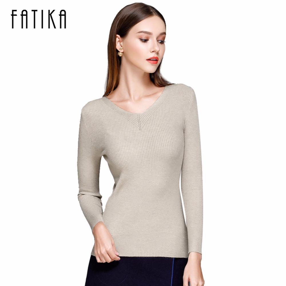 X201710 FATIKA Women Cute Elegant V Neck Slim Casual Knit Sweater ...