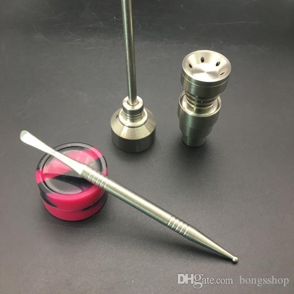 Бонг набор инструментов регулируемая GR2 Титана карбюратор крышка Domeless Титана ногтей для 14 мм, 18 мм Dabber инструмент силиконовые банку Dab контейнер съемный