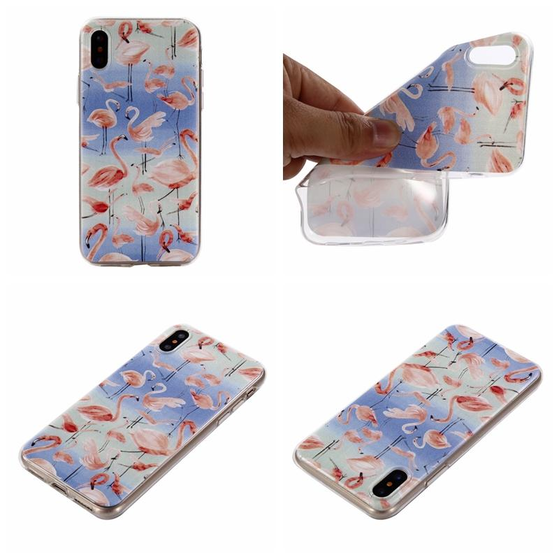 Flamingo Flower Soft TPU Case For Iphone X 8 7 Plus 6 6S SE 5S Fashion Stylish Bird Cute Cartoon Silicone Floral Cell Phone Back Skin Cover