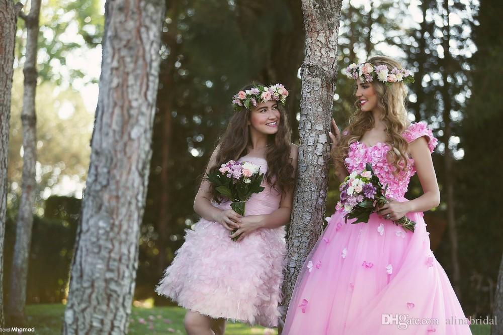 Rosa Prinzessin Fantcy Brautkleider mit handgefertigten Blumen Arabisch Dubai nach Maß eine Linie bodenlangen Garten bunte Brautkleid