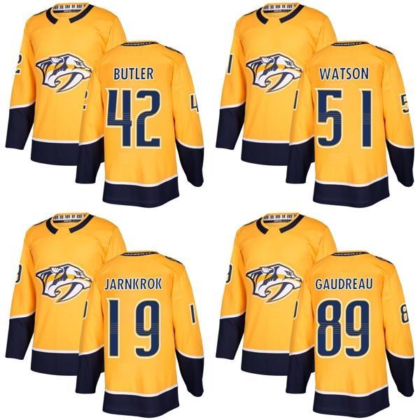 purchase cheap 0b26f 7fcc9 2017 New Brand Mens Nashville Predators 19 Calle Jarnkrok 42 Bobby Butler  51 Watson 89 Gaudreau Best Gold Ice Hockey Jerseys Accept Custom