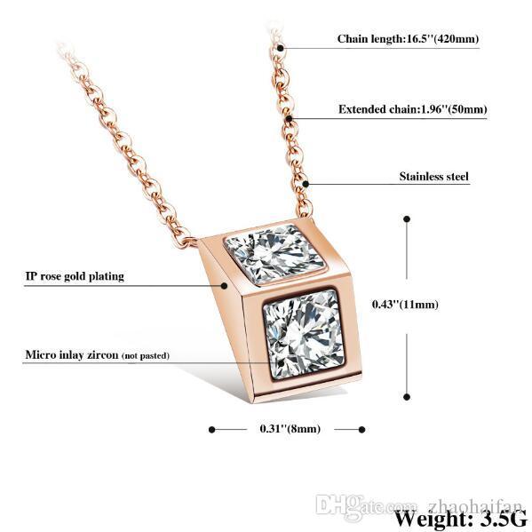 Mode Bijoux Femme Accessoires Triangle Prisme Filles Collier Pendentif Incrusté CZ Diamant Chaîne En Acier Inoxydable Lien AGX1082