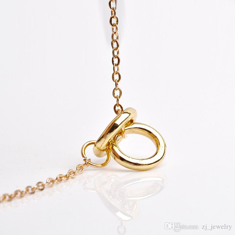 Dogeared With Card Karma Eternity Tiny Charms Double Circle Infinity Pendant Necklace Clavicle Body Chains Fashion Necklace Women Jewelry